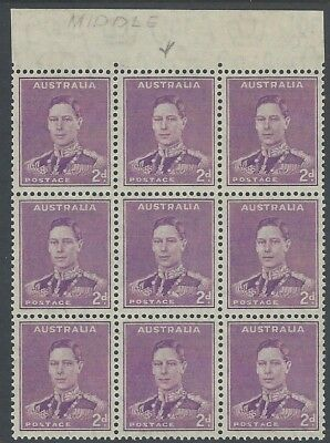 1941 2d Purple KGVI Blk of 9 centre stamp MEDAL FLAW MNH - SG 185b Cat Val $140+