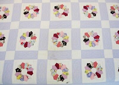 """Vintage Hand Sewn All Cotton DRESDEN PLATE QUILT; Needs Some TLC; 79"""" x 66"""""""