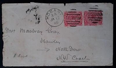 Rare 1886 Tasmania Australia Pr 1d Scarlet Sideface stamps on cover to Northdown