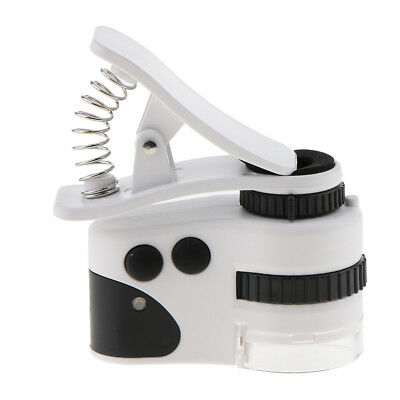 Mobile Phone LED Microscope Magnifier Clip Lens 50X/60X UV Currency Detector