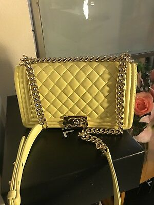 4c8f4efe4202 100% Auth 2017 CHANEL Yellow Quilted Lambskin Gold Hardware Medium Le Boy