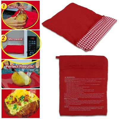 Red Washable Cooker Bag Baked Potato Microwave Cooking Potato Quick Fast HOT
