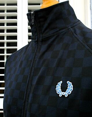 Fred Perry Black/Navy Checkerboard Track Jacket - M/L - Ska Mod Scooter Skins