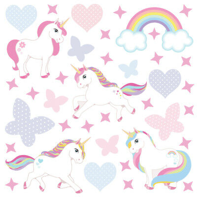 Magical Unicorn Horse & Rainbow Stars Childrens Wall Stickers RainbFamily Unic4b