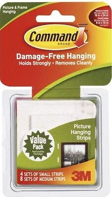 3M Command Picture Hanging Strips Value Pack - 4 x Small 8 x Medium Strips