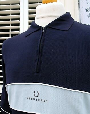 Fred Perry Navy Zip-Neck Nylon Polo - XL - Ska Mod Scooter Casuals Vintage