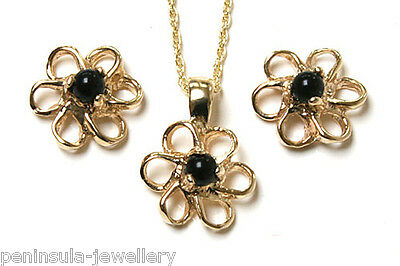 9ct Gold Black Onyx Pendant Necklace and Earring Set Gift Boxed Made in UK