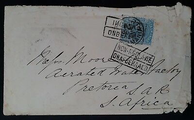 1899 Tasmania cover ties 2 1/2d Surch on 9d Pale Blue Sface Stamp to Sth Africa