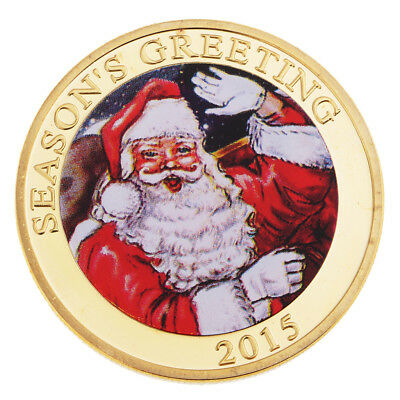 Merry Christmas Santa Claus Luck Commemorative Coin Toys with Box Protector