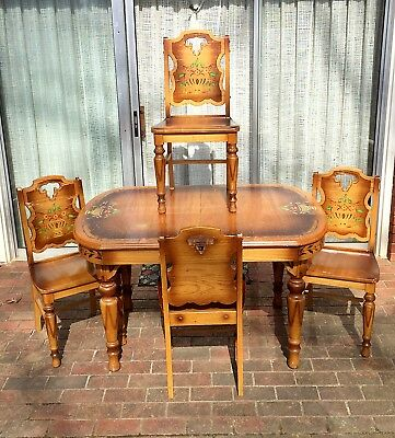 Original Finish Stencil Decorated Antique SOLID OAK TABLE & 4 CHAIRS kitchen set