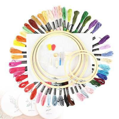 Cross Stitch Embroidery Starter Kit Craft DIY Tools Colorful Thread Fabric-Set