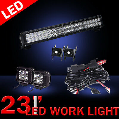 """23 Inch PHILIPS  LED Light Bar Combo+4""""  PODS OFFROAD SUV 4WD FORD JEEP"""