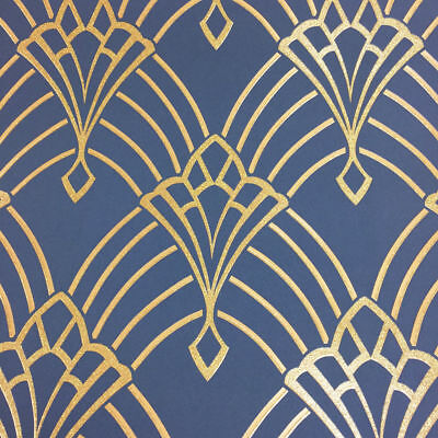 Rasch Astoria Art Deco Navy Blue Gold Glitter Soft Touch Feature