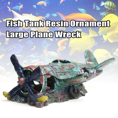 Water Decor Aqua Aquarium Fish Tank Resin Ornament Large Plane Airplane Wreck