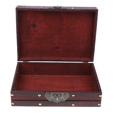Vintage Retro Wooden Jewelry Box Organizer Storage Case Container with Lock