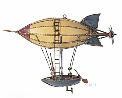"Steampunk Airship Model Metal Hot Air Balloon 14"" Hanging Aviation Ship Art New"