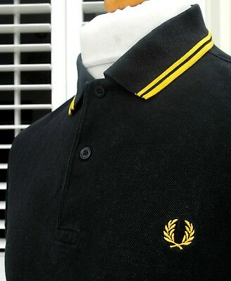 Fred Perry M1200 Black Twin Tipped Pique Polo - M/L - Ska Mod Scooter Workwear