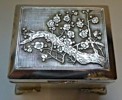 Vintage / Antique Chinese White Metal Cigarette Box - Signed to Base