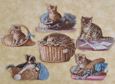 Victorian Scrap , 6 Small Cats In Hats / Baskets, Approx 3 X 3 Cm