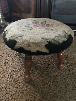 Antique vintage needlepoint footstool roses wooden legs Round