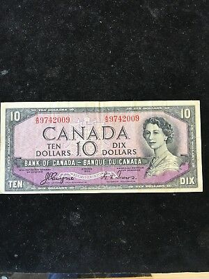1954 (Devils Face) Bank Of Canada $10.00 Note! Coyne/towers