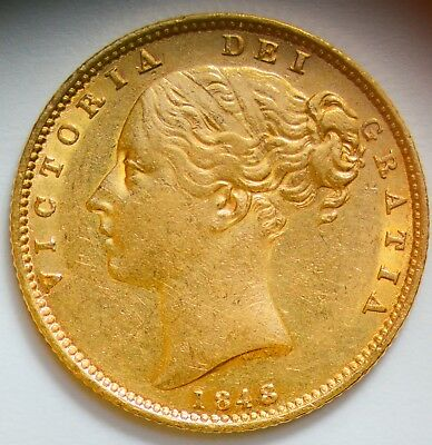 LUSTROUS 1848 Queen Victoria Gold Shield Sovereign - RARE Date - GREAT DETAIL!
