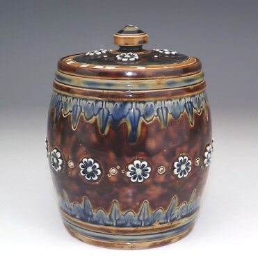 Antique Doulton Lambeth Stoneware - Embossed Flowers Tobacco Jar - Art Nouveau!