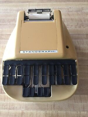 Vintage Yellow Stenograph Reporter Typewriter Shorthand Machine with Case, Paper