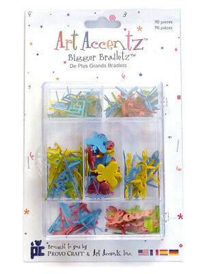 Bigger Brads - Assorted Shapes, pk of 90 - Butterfly/Dragonfly Retro Palette