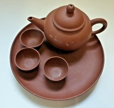 Chinese Yixing Teapot , Dish and Cups - Signed to Base of Teapot