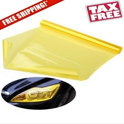 "Glossy Golden Yellow Vinyl Film Tint Wrap For Headlight Fog Light Lamp 12"" x 48"""