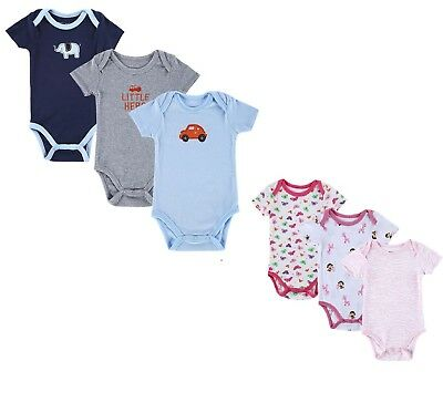 Baby Boys Girls 3 Pack Design Bodysuits Vests Short Sleeve Multi Pack Vest Uk