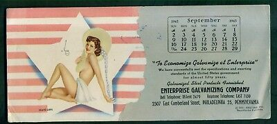 "1943 Enterprise Galvanizing Co. ""Varga Pinup Girl"" Calendar Ad Blotter - Phila."
