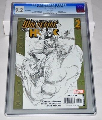Ultimate Wolverine VS. Hulk 2 CGC 9.2 Limited Edition Sketch Variant 181 Battle