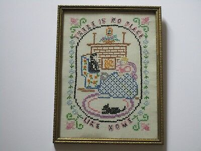 Antique Folk Art Sampler Style No Place Like Home Happy Couple With Cat Interior