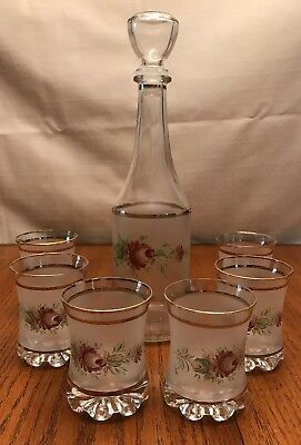Frosted Glass Decanter Set Floral Gold Trim
