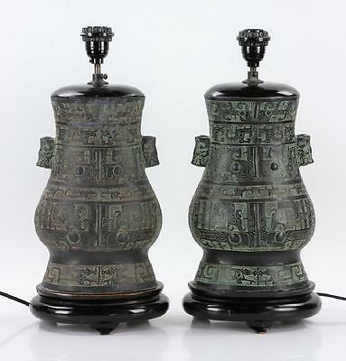 A Pair of Large Chinese Qing Dynasty Bronze Gu Vase Lamps.