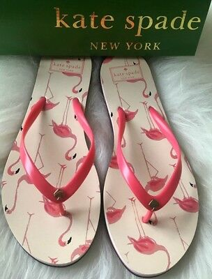 4793608a32cb Kate Spade Pink White Flamingo Flip Flops Slip On Sandals Womens Sz 10 Shoes  NEW