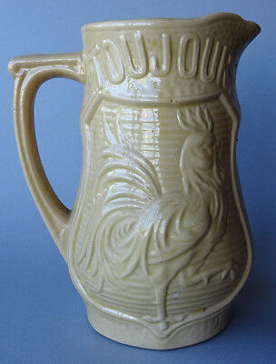 ANTIQUE ROOSTER PITCHER BELGIAN WALLONIA YELLOW WARE CA. 1930's POTTERY