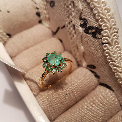 Colombian Emerald Ring in 14k gold over Sterling Silver