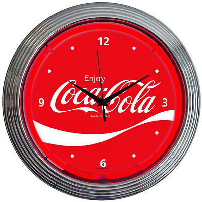 Neon Lighted Dial Wall Clock Coca Cola Coke WAVE Vintage Advertising Sign Art UK