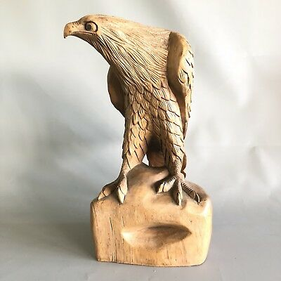 Beautiful large carved wood/wooden figure of a Golden Eagle - 38cm (15 inches)