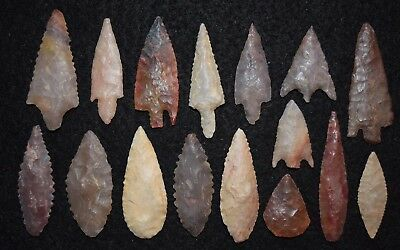 16 better, diverse Sahara Neolithic points/tools, some color and size