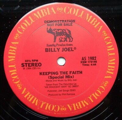 "KLP232	Billy Joel	Keeping the Faith	(AS 1982)	US 1 Version promo 12"" *SALE*"