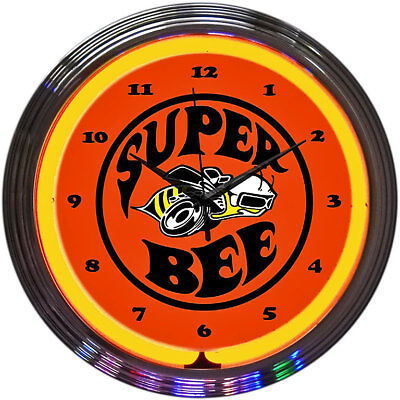 Neon Lighted Face Wall Clock DODGE CHRYLSER SUPER BEE Car Emblem Decal Art Dial