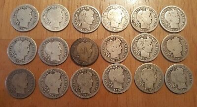 Lot of 18 1916 Barber Silver Dimes
