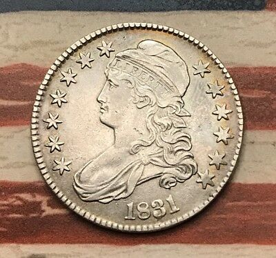 1831 50C Capped Bust Half Dollar 90% Silver Vintage US Coin #EB1 VERY Sharp Look