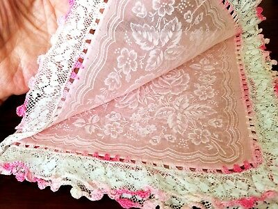 A Sweet Vintage Hankie In Semi Sheer Pink With Lace & Crochet Edge  Roses Patern