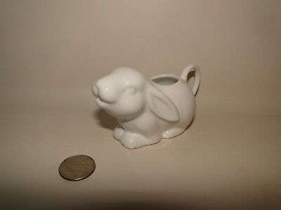 "SMALL WHITE BUNNY RABBIT CREAMER PITCHER, 4 1/4"" Long"