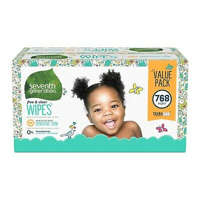 Seventh Generation Free & Clear Baby Wipes - 768ct NEW DAMAGED BOX